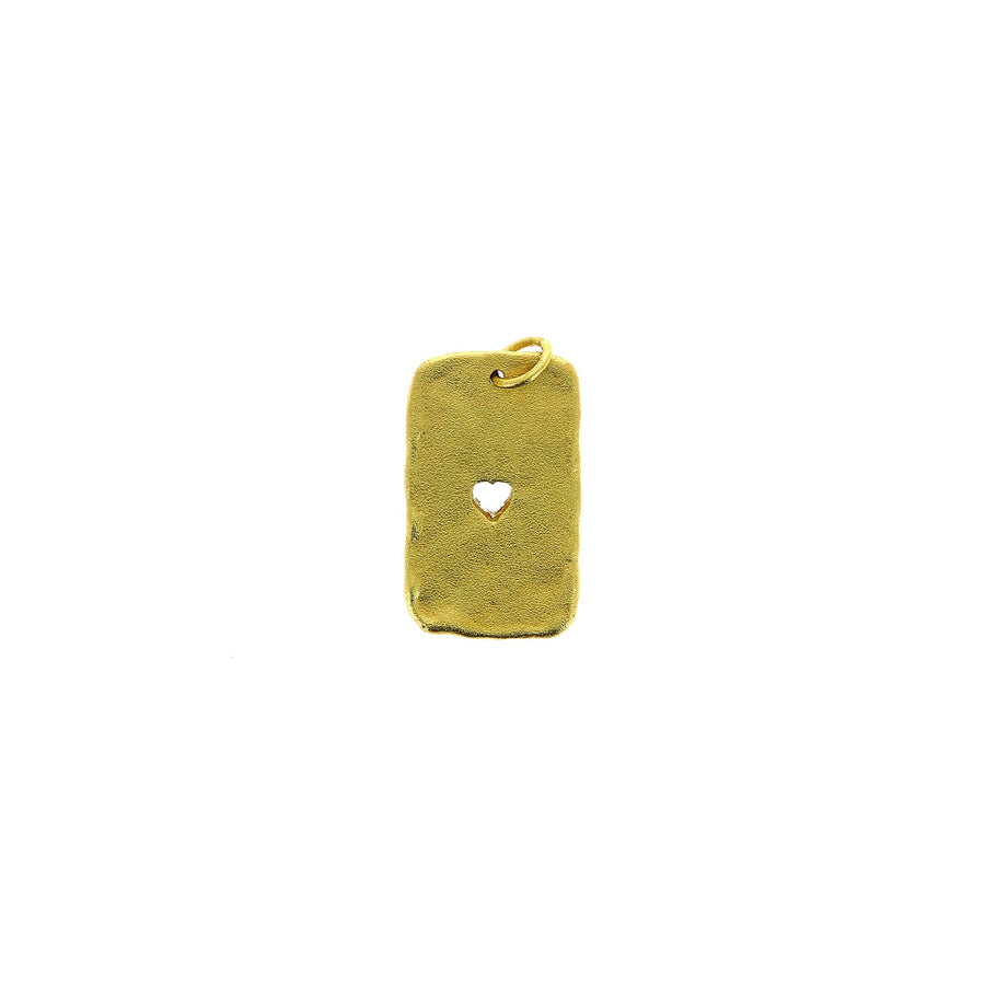 Heart tag charm yellow gold