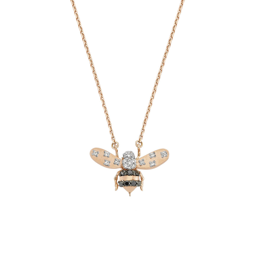 HONEY BEE NECKLACE Black & White Diamond