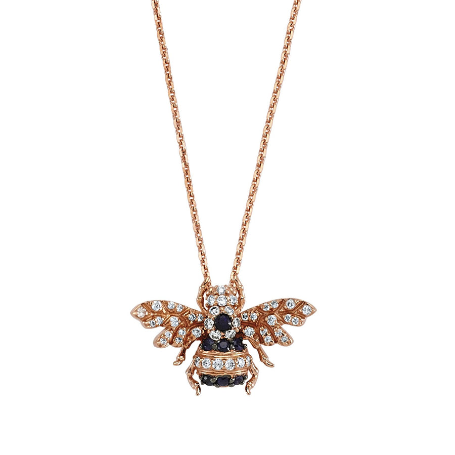 HONEY BEE NECKLACE White and Black Diamond
