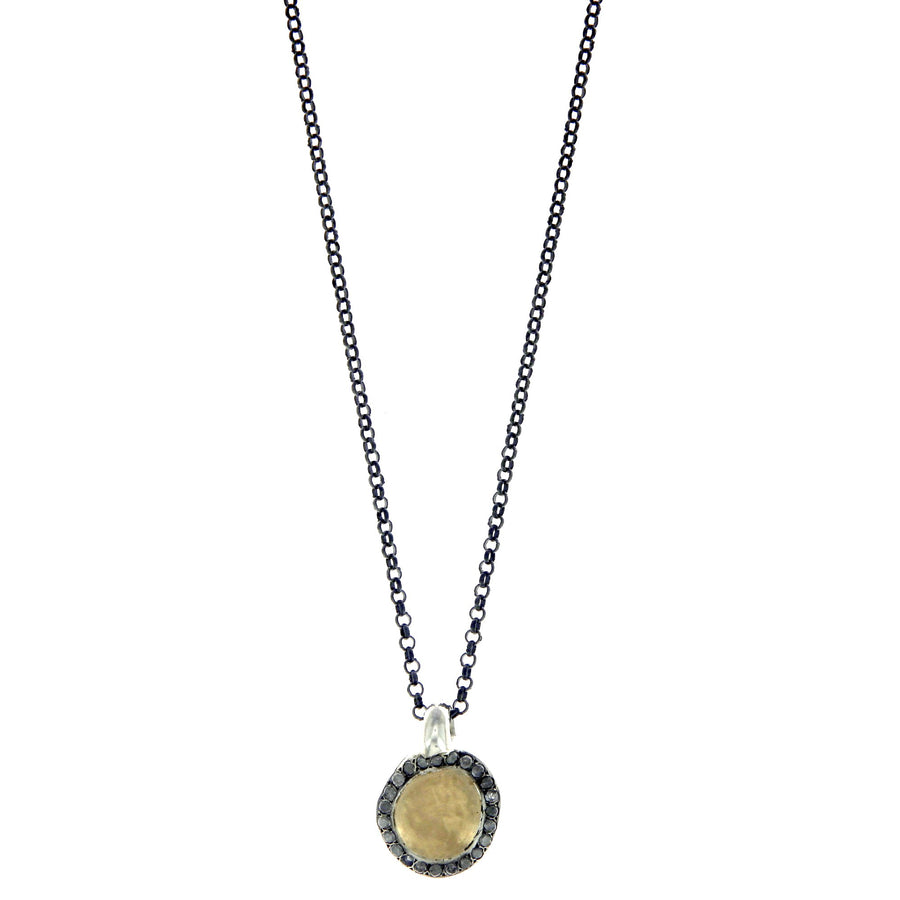 Icy Grey Diamonds Necklace Yellow Gold and Silver