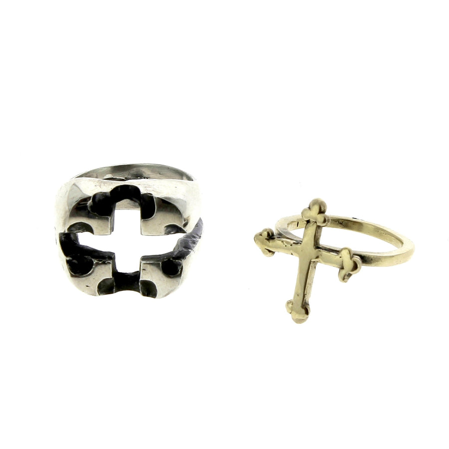 Intertwined Ring with Yellow Gold Cross