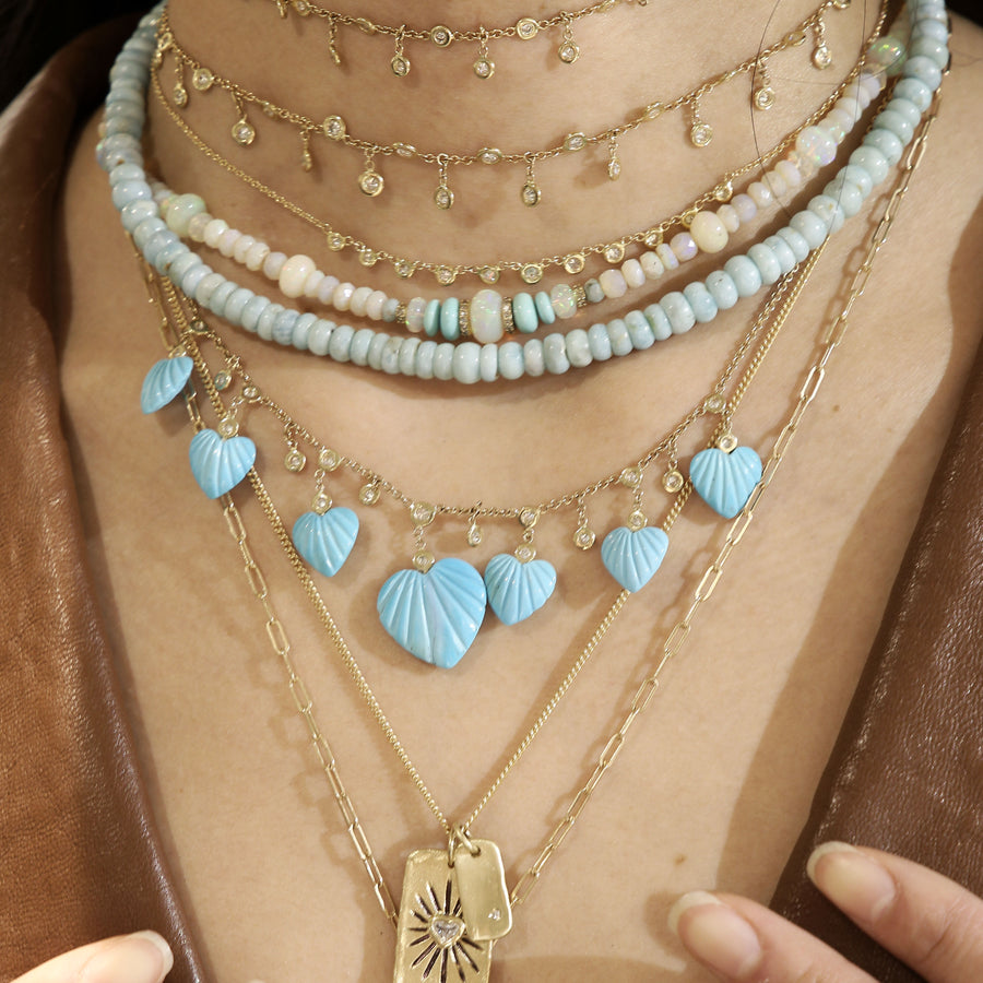 Turquoise and opale beads necklace