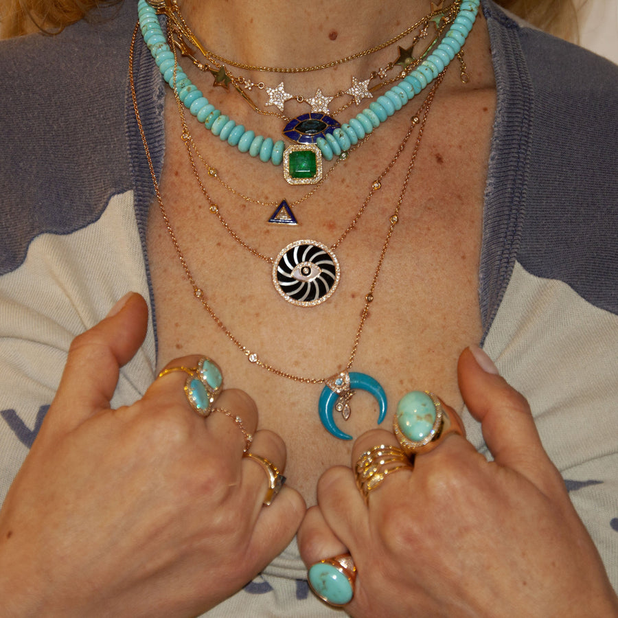 Double Horn Turquoise Necklace