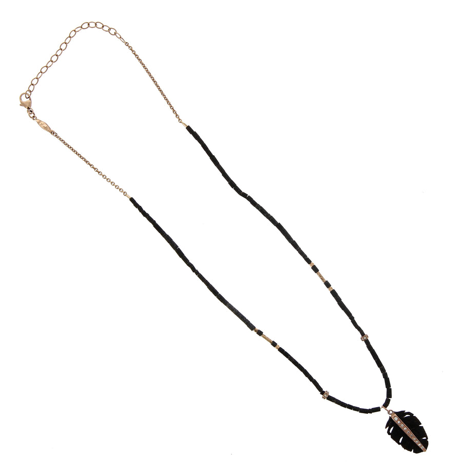 Feather Black Bone Necklace