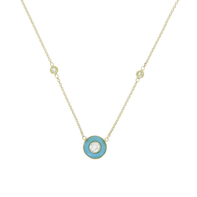 Yellow gold turquoise circle necklace