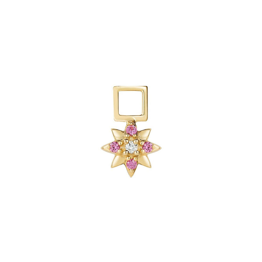 Lotus flower earwish with pink sapphires and diamonds
