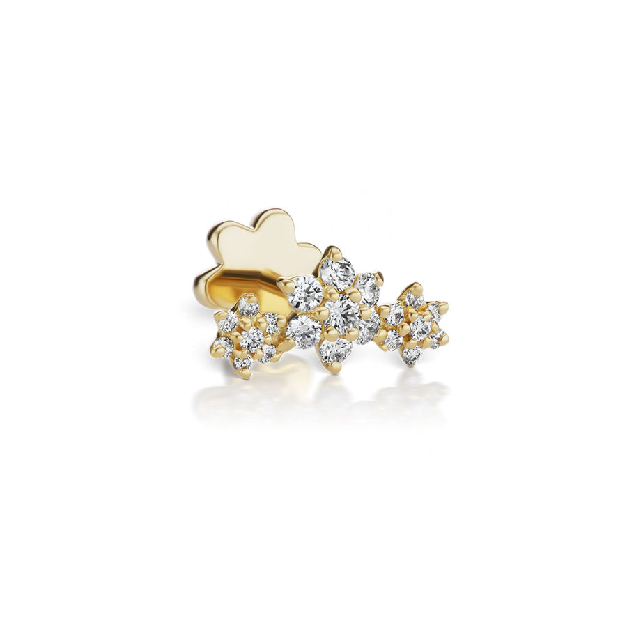 3 Flowers Diamond Yellow Gold Earring