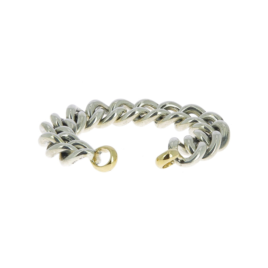 Mega curb bracelet with yellow gold ends