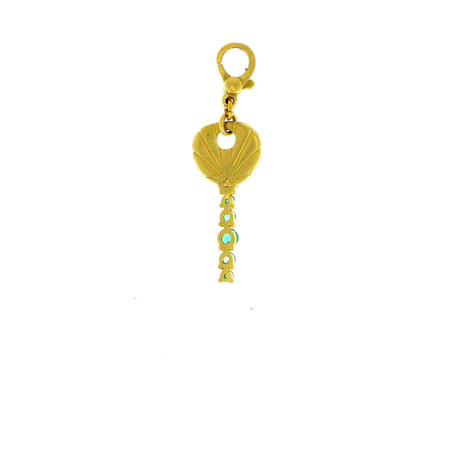 Michelle fantaci key charm with emeralds