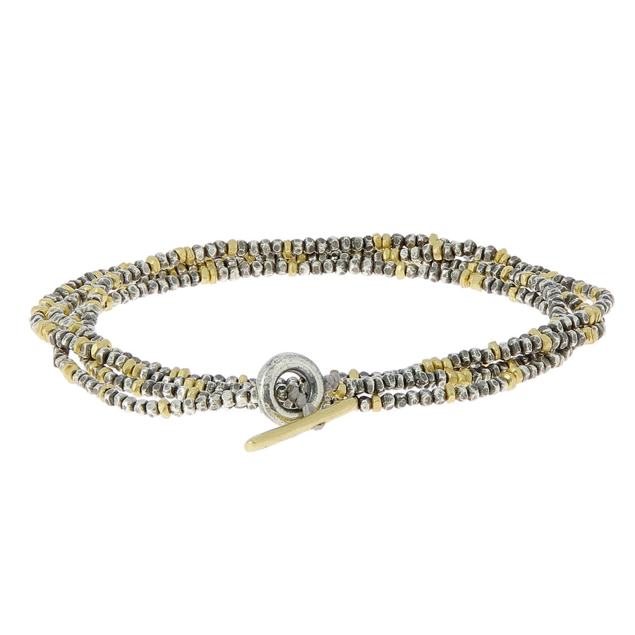 Mini bead silver and gold combo bracelet
