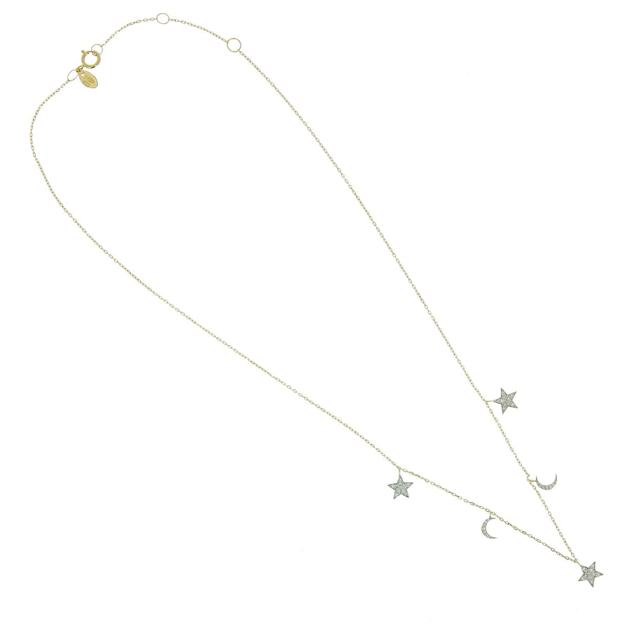Moons and stars necklace