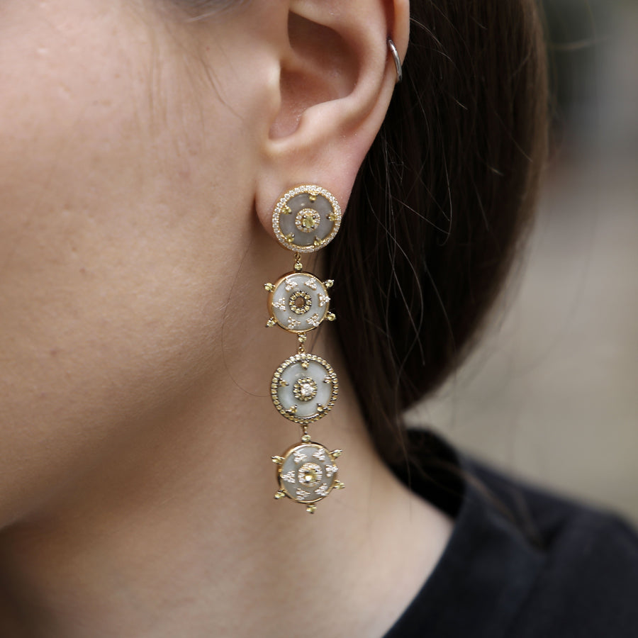 Yellow Sapphire 4 Disc Earrings