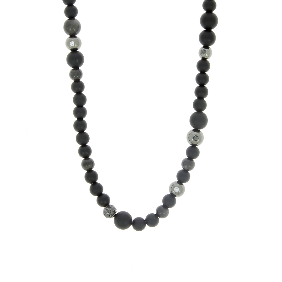 Onyx, grey sapphire and black diamonds necklace