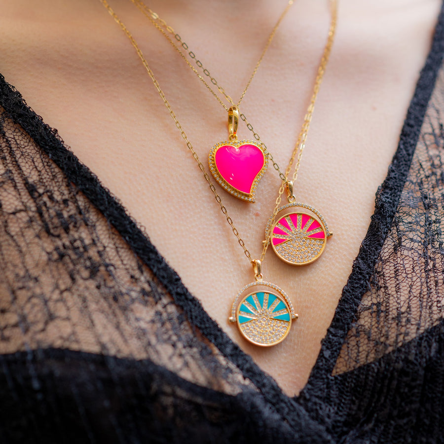 Yellow gold necklace diamonds and neon pink enamel