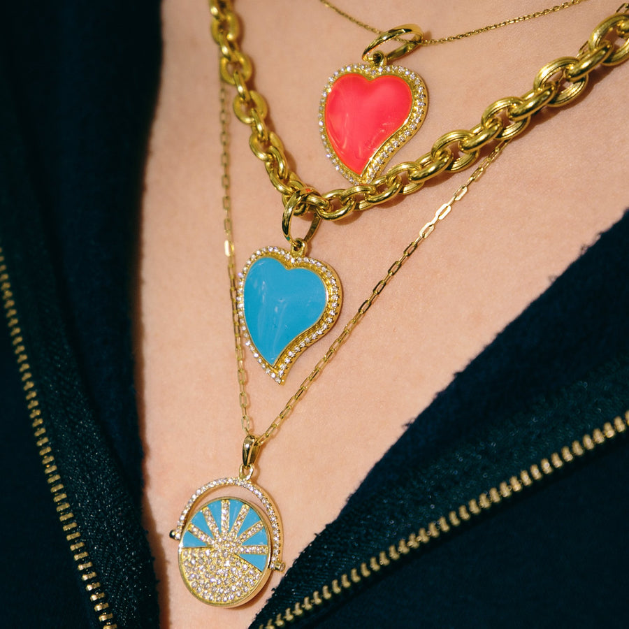 Yellow gold necklace diamonds and turquoise enamel