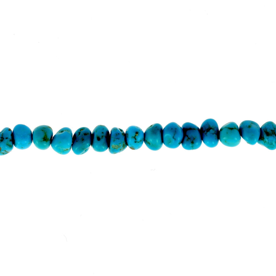 Nugget turquoise beaded anklet rose gold