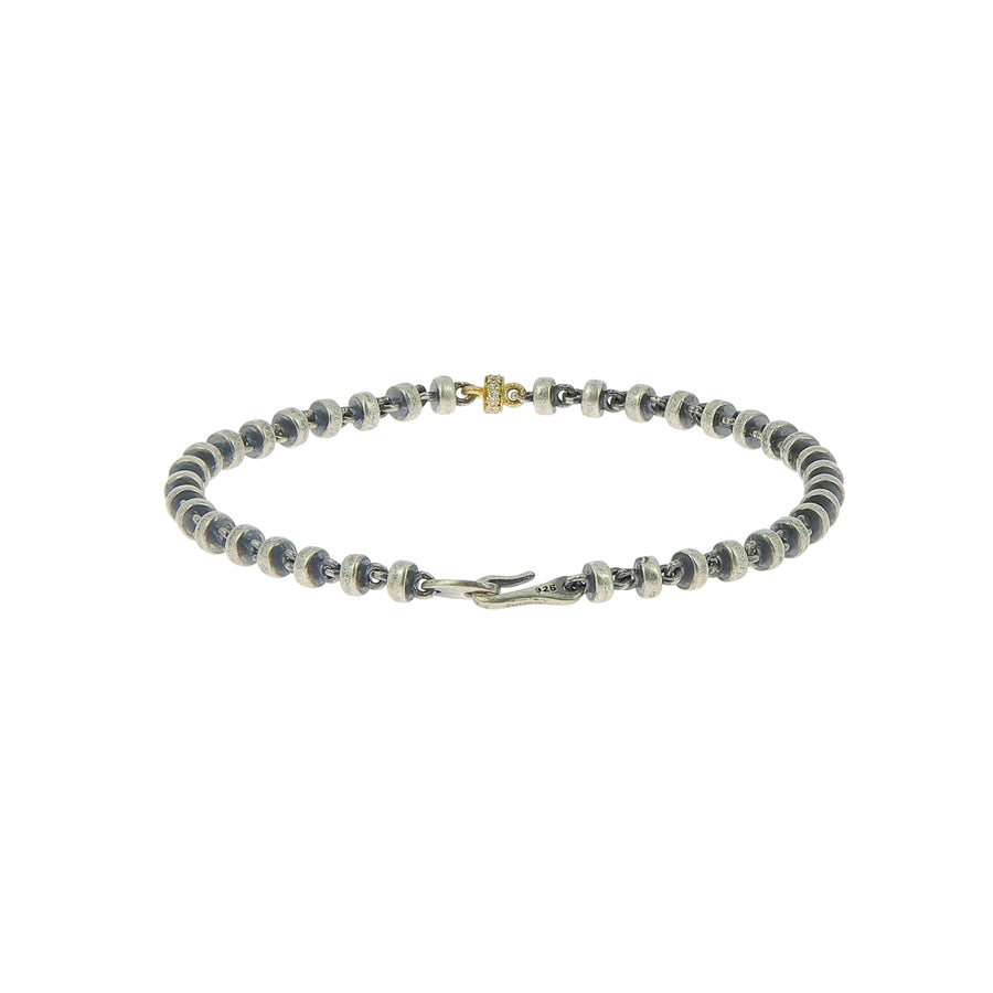 Omni bead bracelet in oxidized with white diamond