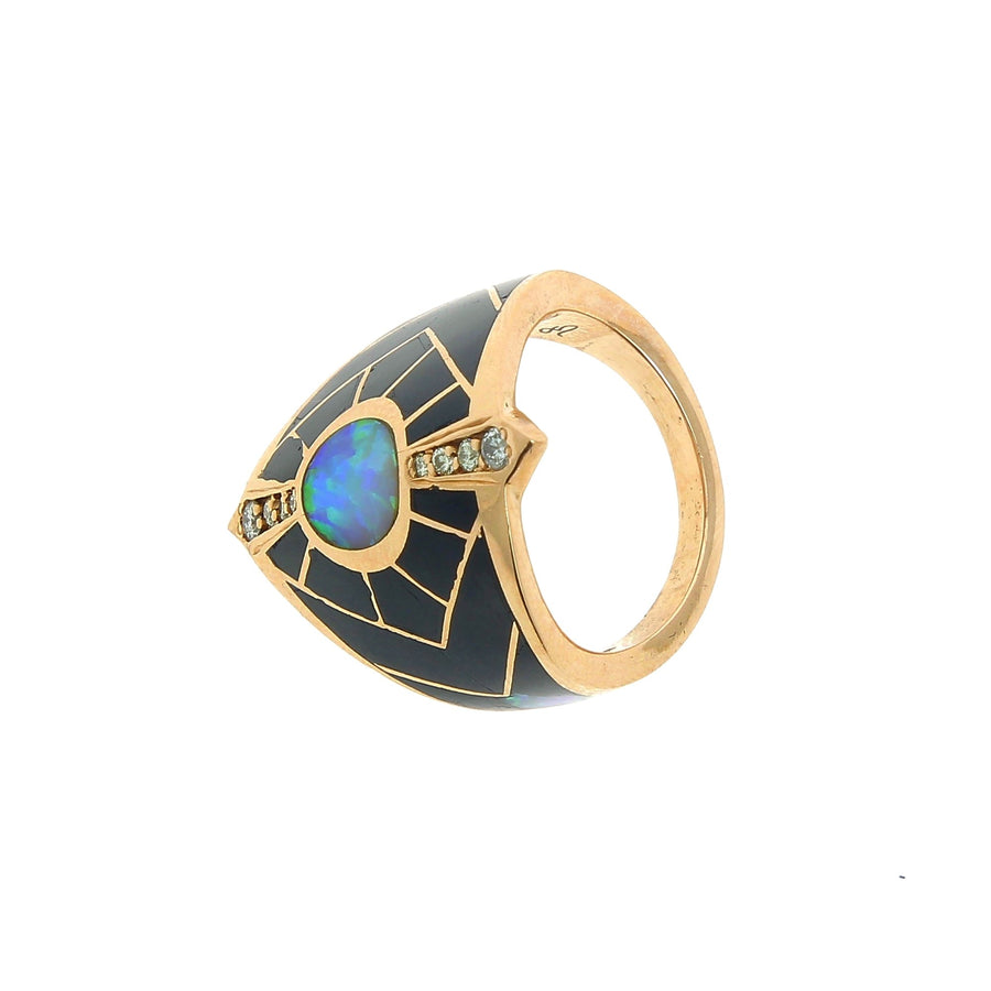 Onyx ring with pave center opal
