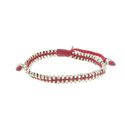 Two Row Stamped Beads Red Bracelet