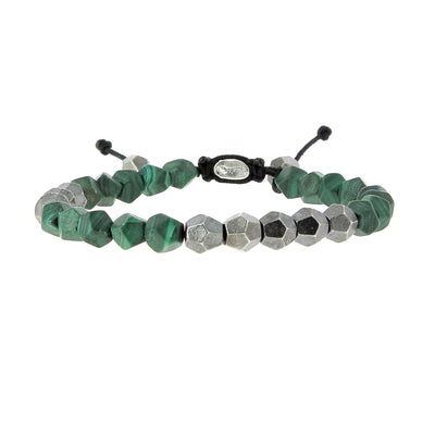 Silver and Malachite Beads Bracelet