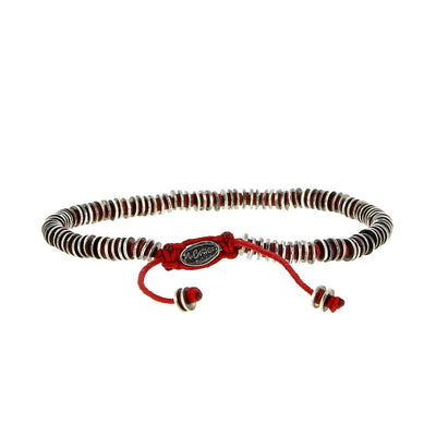 Silver & Red Beads Bracelet