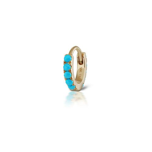 6.5 mm Turquoise Eternity Yellow Gold Ring