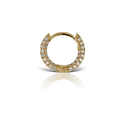 6.5 mm Diamond Five Row Pave Yellow Gold Ring