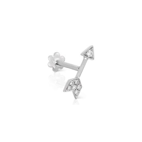 Diamond Arrow White Gold Stud