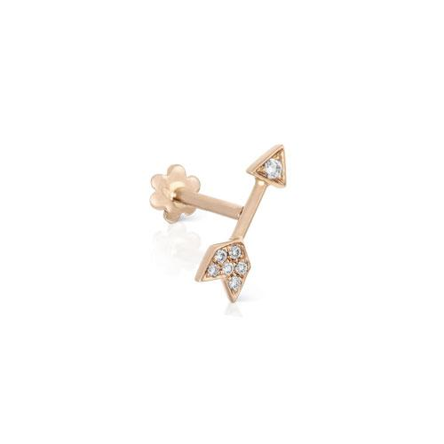 Diamond Arrow Pink Gold Stud