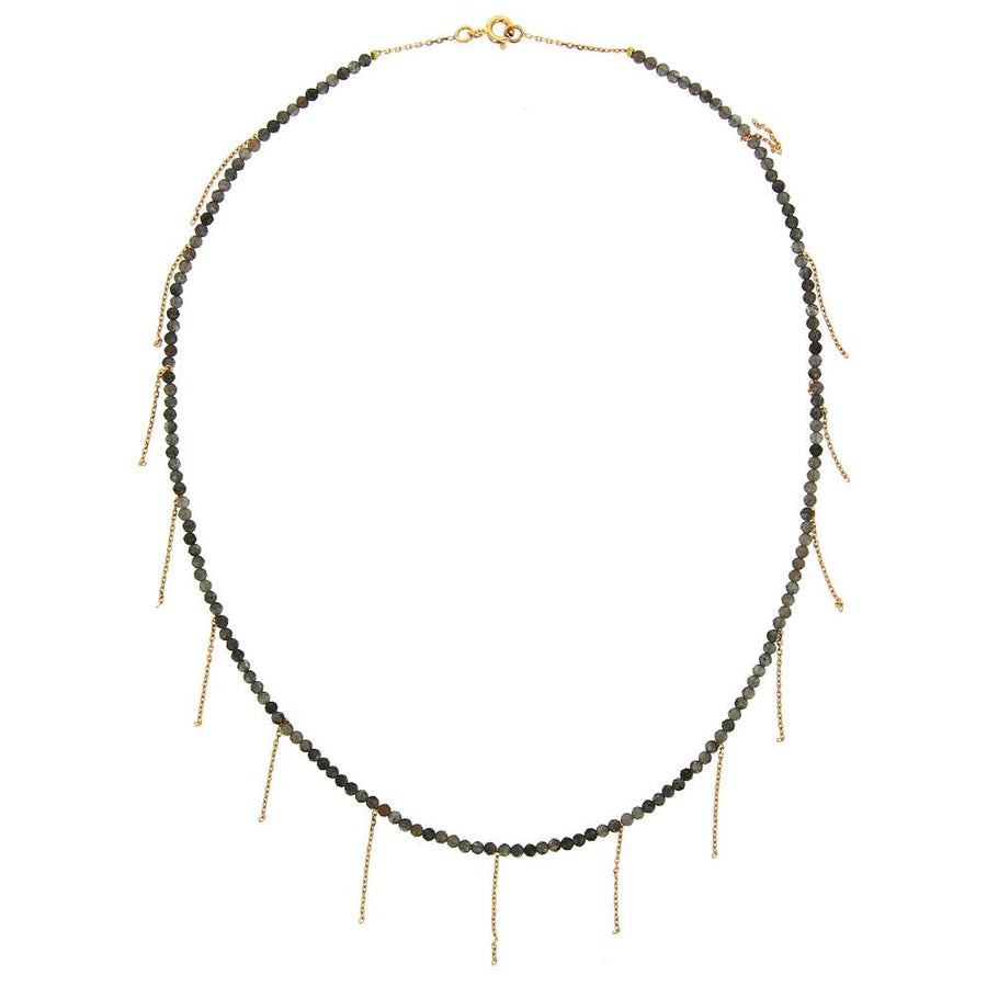 Aventurine Beads Fringe Necklace