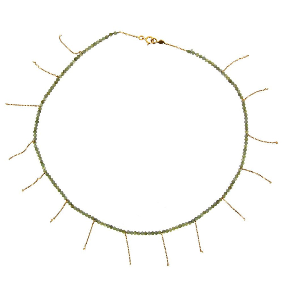 Anthracyte Moon Stone Fringe Necklace
