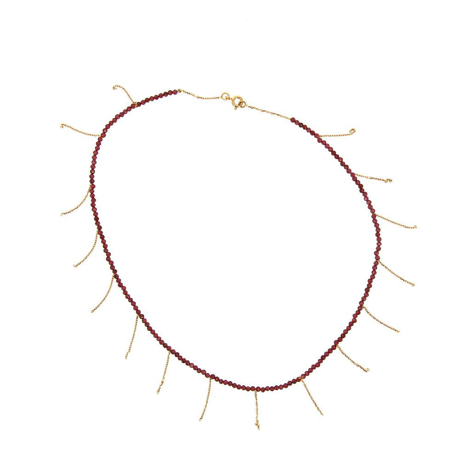 Garnet Fringe Necklace
