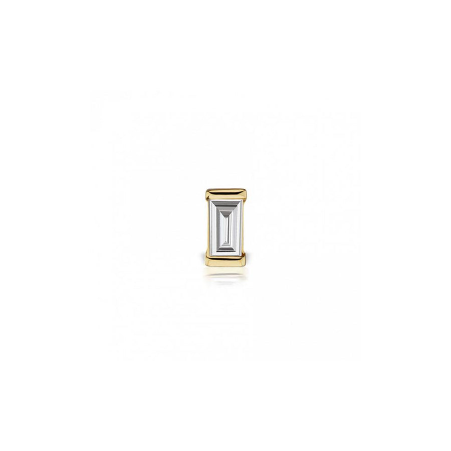 Diamond Baguette Yellow Gold Stud