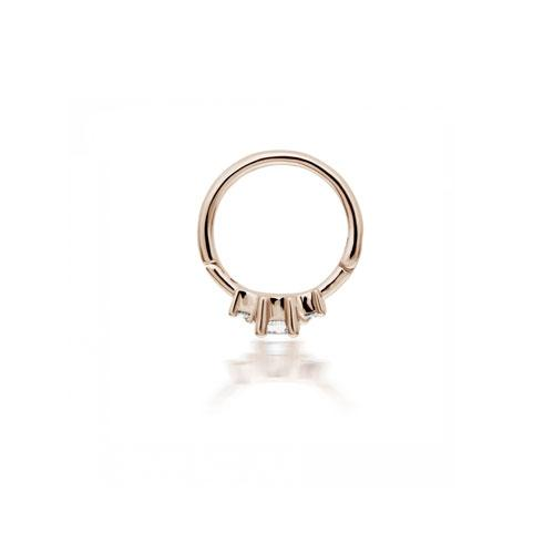 8mm Diamond Princess Pink Gold Ring