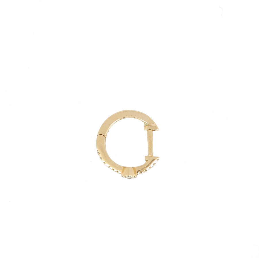 Pave diamond hoop with eye rose gold