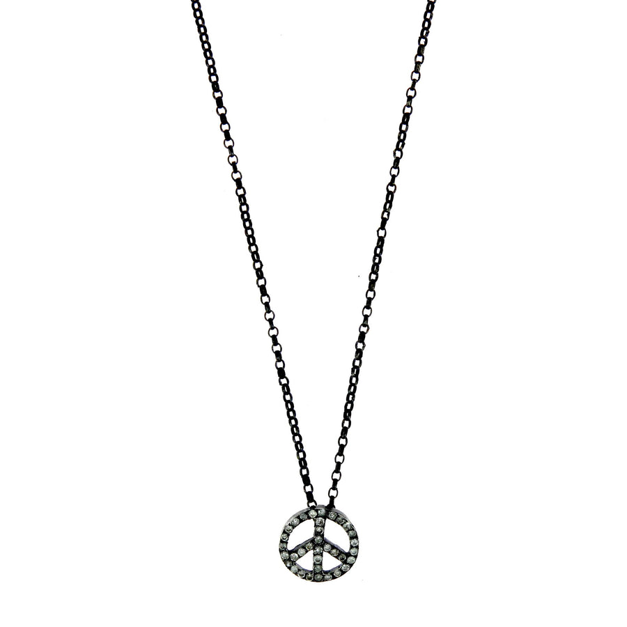 Peace and Love Necklace Cut Diamonds