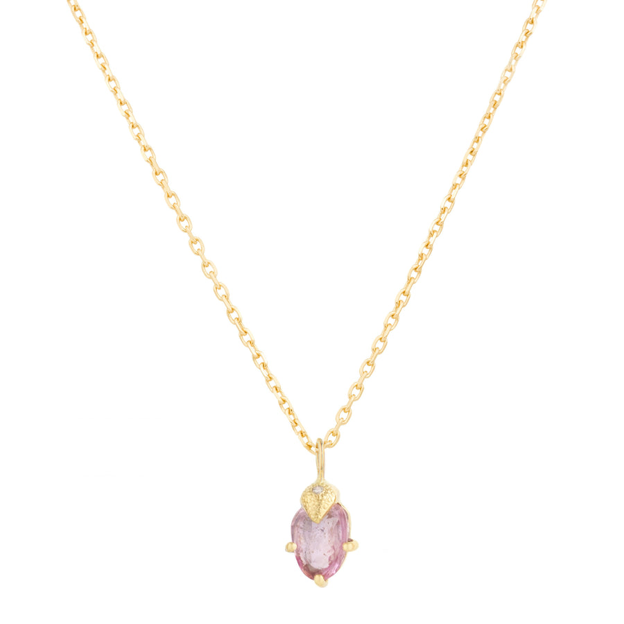 Pink Sapphire and One Claw Diamonds Necklace
