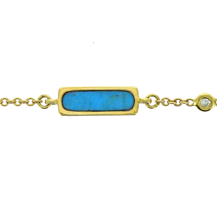 Rectangle turquoise necklace with clip charm