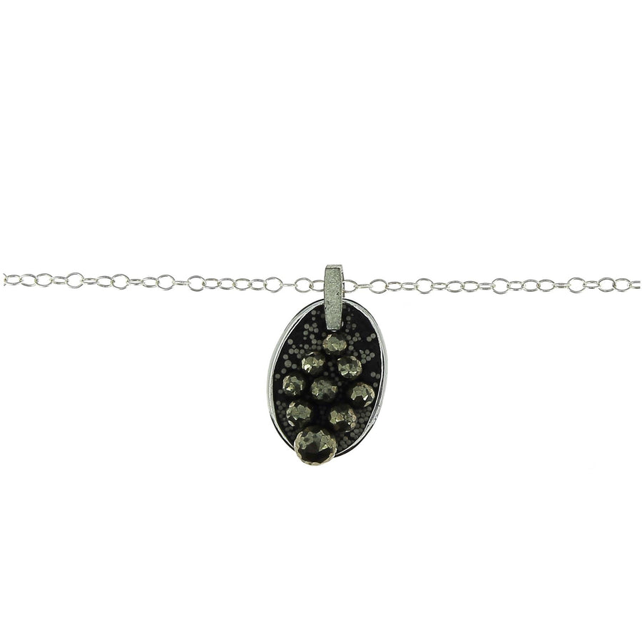 Semi Large Oval Tag with Pyrite