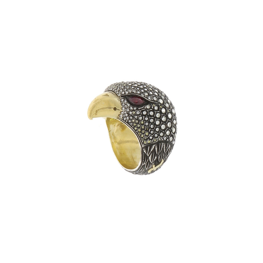 Diamonds and Ruby Falcon Ring