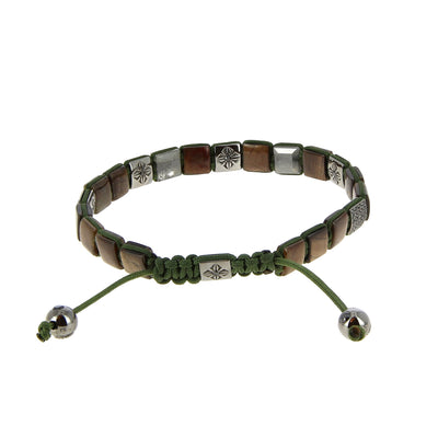 Brown & Green Lock Bracelet