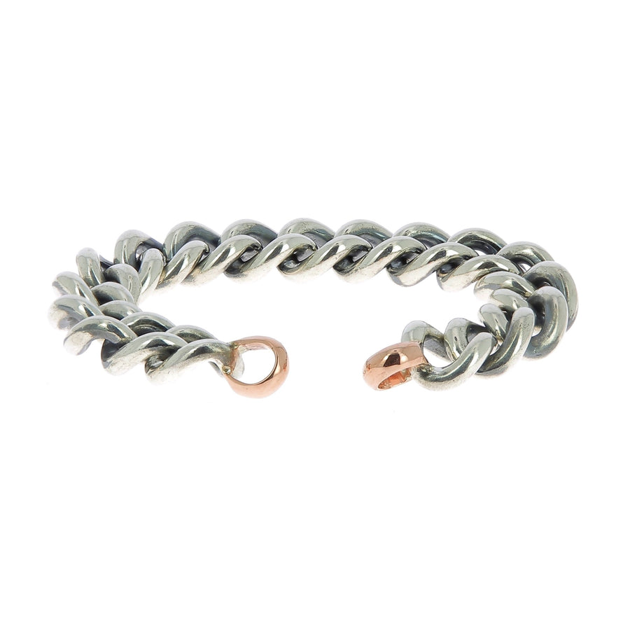 Silver mega curb bracelet with rose gold ends