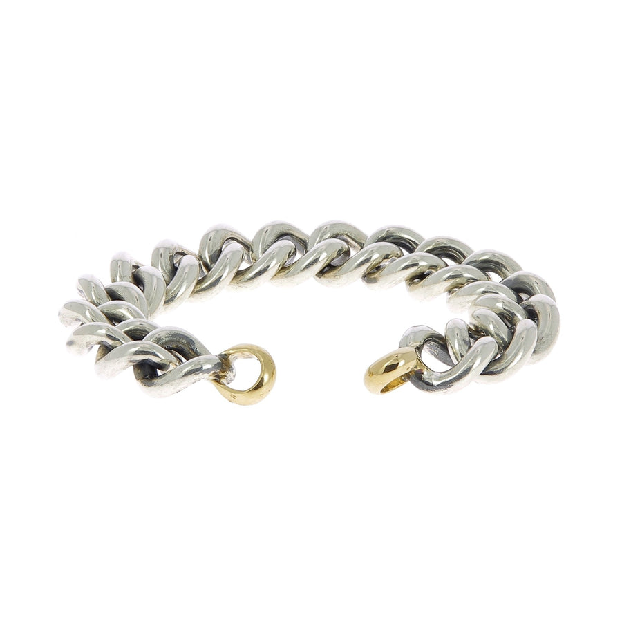 Silver mega curb bracelet with yellow gold ends