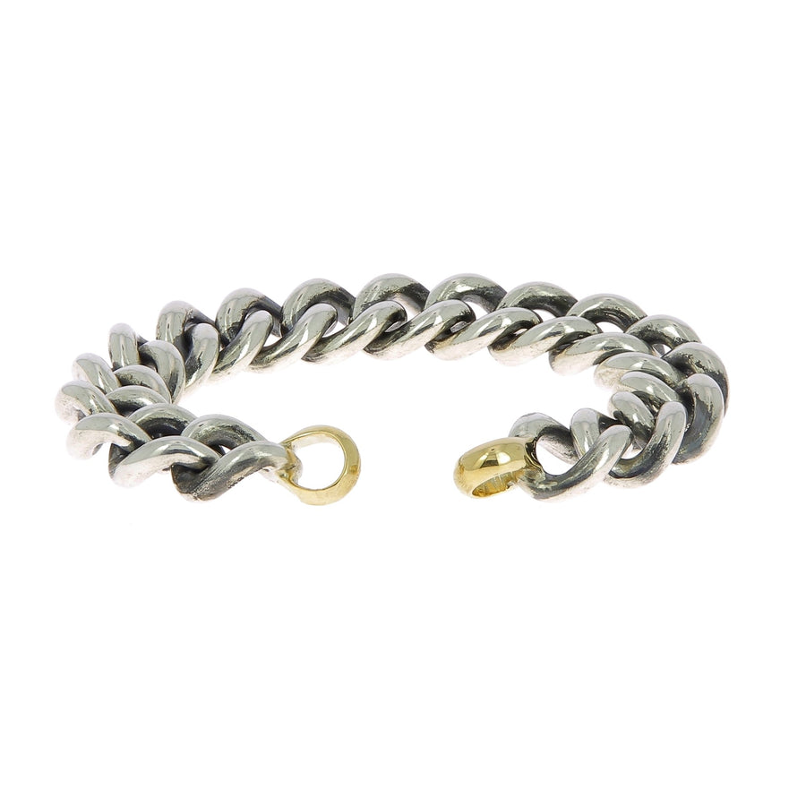 Silver mega curb large bracelet with yellow gold ends