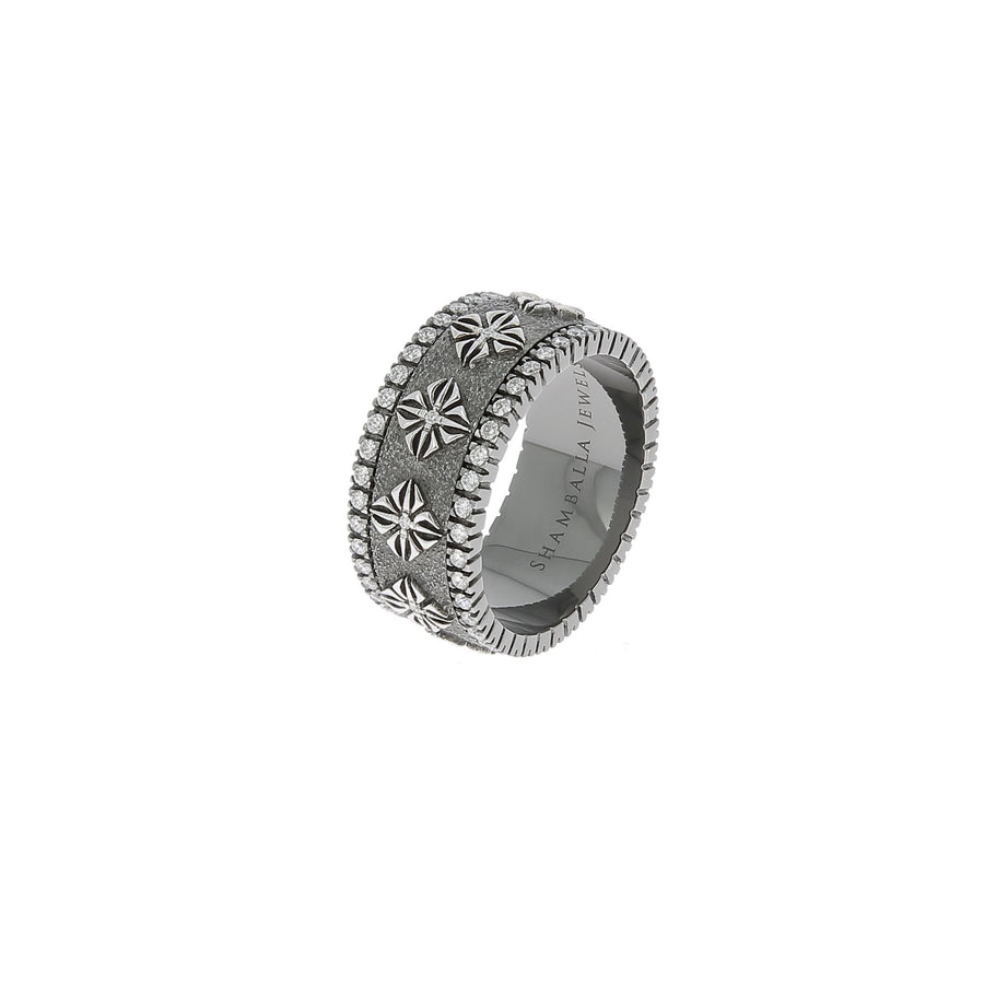 Spinner black rhodium plated white gold with white diamonds ring