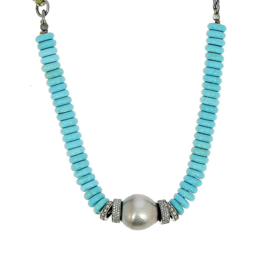 Tahitian Pearl with Turquoise Necklace