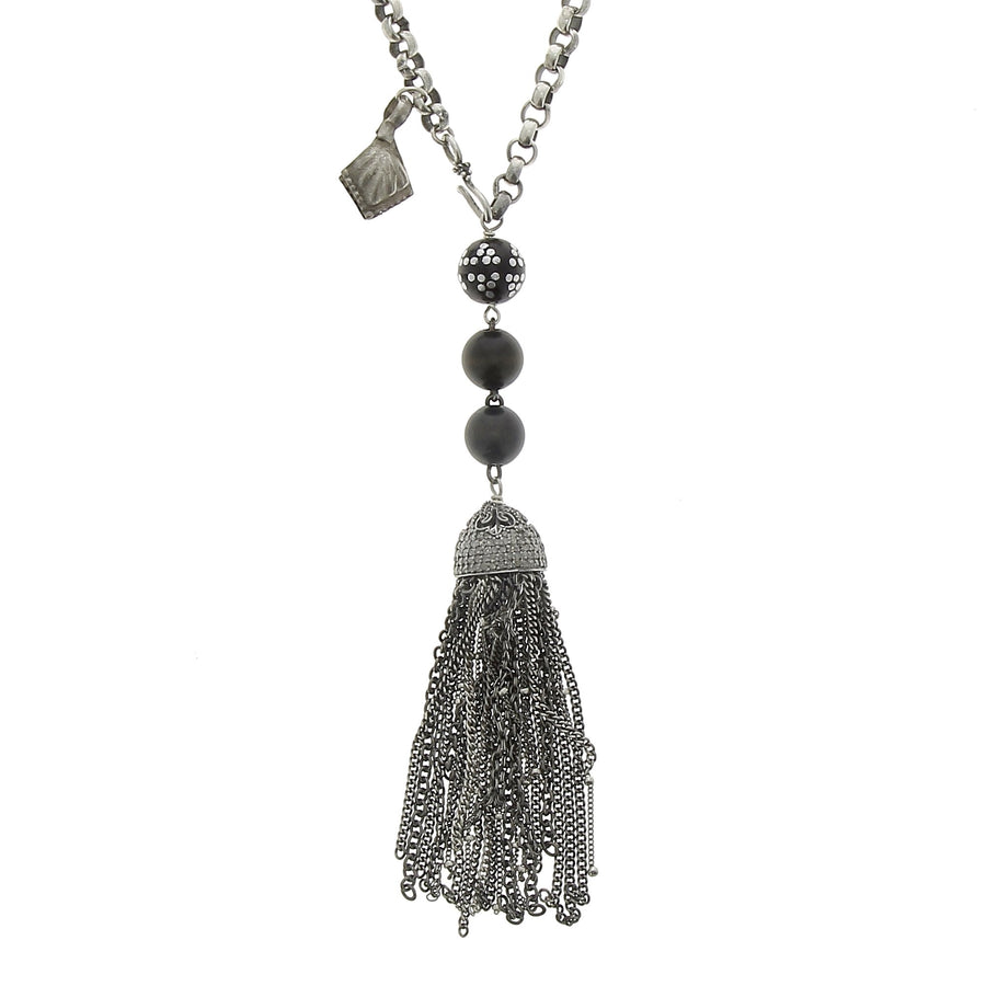 Tassel necklace with pave cap mala beads