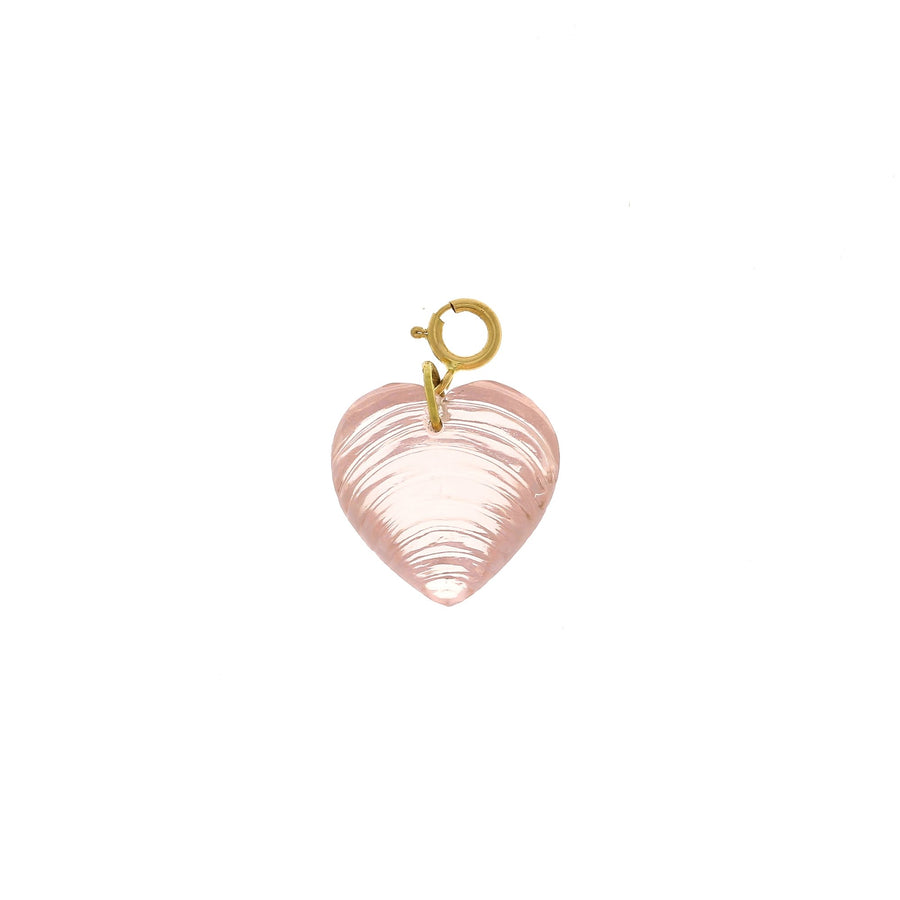 Ten thousand things carved rose quartz heart charm