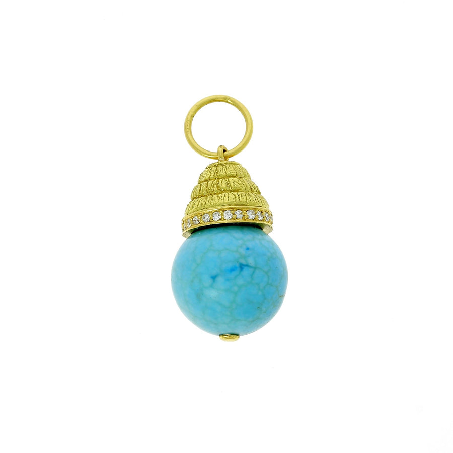 Turquoise sphere charm with diamonds