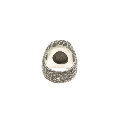 Sculpted Granite and Black Diamonds Ring